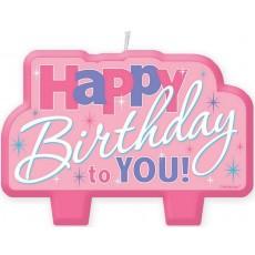 Happy Birthday Candles 7cm x 10cm Pink Happy Birthday to You