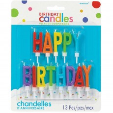 Primary Multi Coloured Happy Birthday Letter Candles 5cm Pack of 13