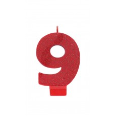 Number 9 Candles 8cm Glittered Red