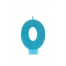 Number 0 Candles 8cm Glittered Blue