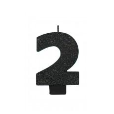 Number 2 Candles 8cm Black Sparkle Glittered