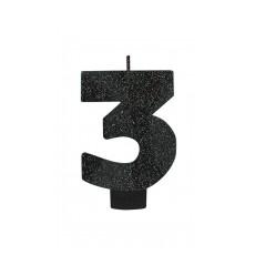 Number 3 Candles 8cm Black Sparkle Glittered