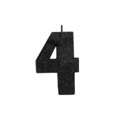 Number 4 Candles 8cm Black Sparkle Glittered