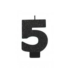 Number 5 Candles 8cm Black Sparkle Glittered