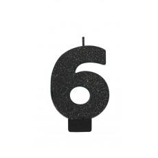 Number 6 Candles 8cm Black Sparkle Glittered