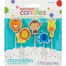 Jungle Animals Candles 6cm Pack of 5