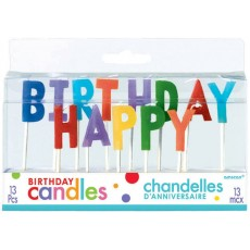 Primary Multi Coloured Happy Birthday Pick Candles 2.5cm Pack of 13