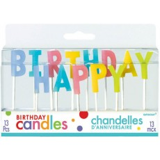 Pastel Multi Coloured Happy Birthday Toothpick Candles Pack of 13
