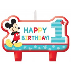 Mickey Mouse 1st Birthday Fun To Be One Mini Moulded Candles Pack of 4