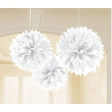 White Fluffy Tissue Hanging Decorations 40.6cm Pack of 3