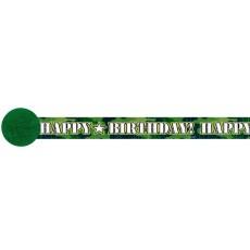 Camouflage Happy Birthday! Crepe Streamer 9.14m x 4.8cm