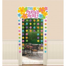 Hawaiian Summer Luau Hibiscus Curtain The Party's Here Door Decoration 137cm x 96cm