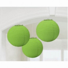 Round Lime Green Lanterns 24cm Pack of 3