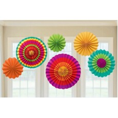 Mexican Fiesta Paper Fans Hanging Decorations Pack of 6