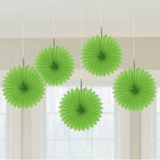 Green Hanging Decorations 15cm Lime Green Pack of 5