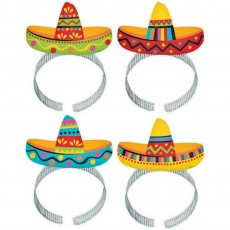 Mexican Fiesta Sombrero Headbands Party Hats Pack of 8