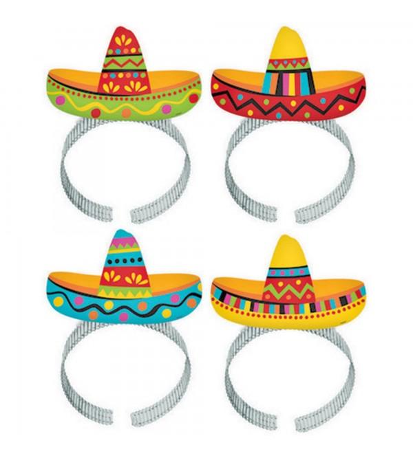 Mexican Fiesta Sombrero Headbands Party Hats Pack of 8