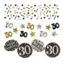 30th Birthday Confetti 34g Black, Gold & Silver Single Pack
