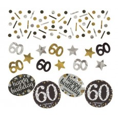 60th Birthday Confetti 34g Black, Gold & Silver Single Pack
