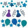 Happy Birthday Confetti 34g Blue Celebration Assorted Shapes
