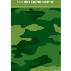 Camouflage Folded Loot Favour Bags 23cm Pack of 8