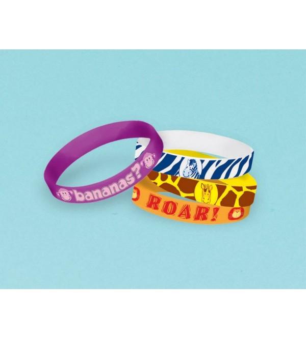 Jungle Animals Favours Rubber Bracelets Pack of 4