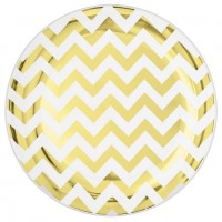Chevron Design Lunch Plates 19cm Gold Pack of 20