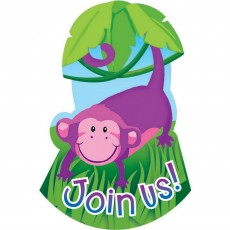 Jungle Animals Invitations For 8 Guests Pack of 8