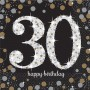 30th Birthday Lunch Napkins 33cm x 33cm Black, Gold & Silver Pack of 16