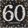 60th Birthday Lunch Napkins 33cm x 33cm Black, Gold & Silver Pack of 16