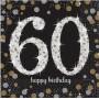 60th Birthday Sparkling Celebration Lunch Napkins 33cm x 33cm Pack of 16