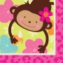 Monkey Love Lunch Napkins 33cm x 33cm Pack of 16