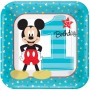 Boy Mickey Mouse 1st Birthday Lunch Plates 18cm Pack of 8