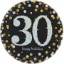 30th Birthday Dinner Plates 23cm Black, Gold & Silver Pack of 8