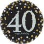 Round Black, Gold & Silver 40th Birthday Sparkling Celebration Prismatic Dinner Plates 23cm Pack of 8