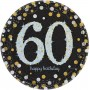 60th Birthday Dinner Plates 23cm Black, Gold & Silver Pack of 8