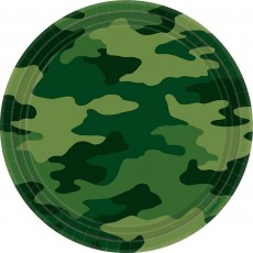 Round Camouflage Dinner Plates 23cm Pack of 8