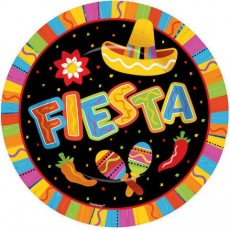 Round Mexican Fiesta Paper FIESTA Banquet Plates 26cm Pack of 8