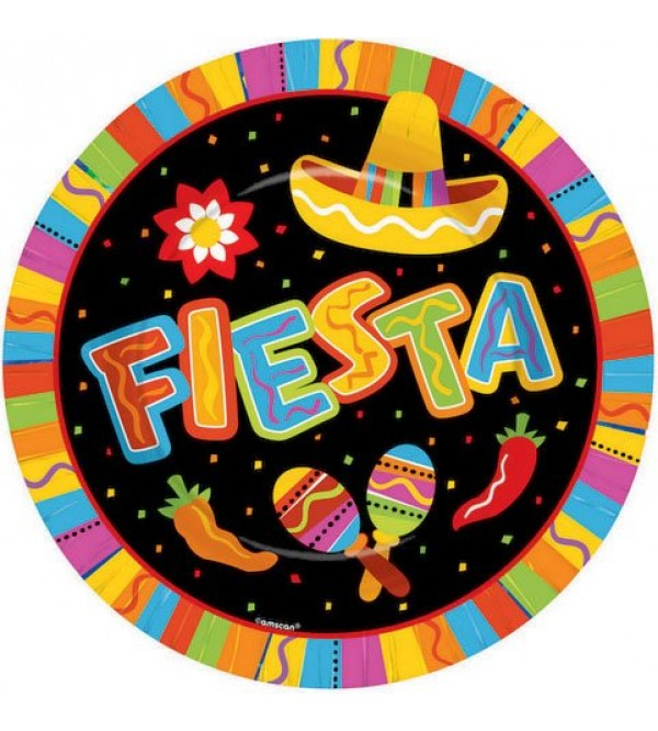 Round Mexican Fiesta Paper FIESTA Banquet Plates 26cm Pack of 8