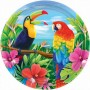Round Hawaiian Luau Banquet Plates 27cm Pack of 8