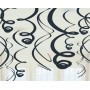 Jet Black Plastic Swirls Hanging Decorations 56cm Pack of 12