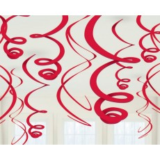 Apple Red Plastic Swirls Hanging Decorations 56cm Pack of 12