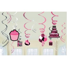Fabulous Birthday Hanging Decorations Another Year of Fabulous Swirls Pack of 12