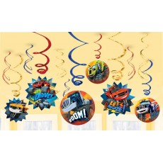 Blaze & The Monster Machines Swirl Hanging Decorations Pack of 12