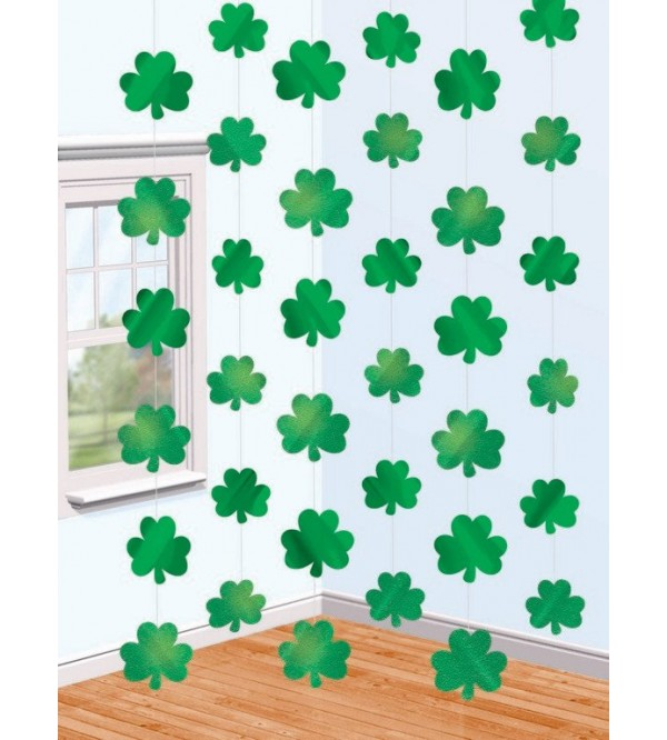 St Patrick's day Hanging Decorations 2.1m x 10.5cm Shamrock String Pack of 6