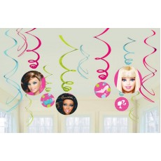 Barbie All Doll'd Up Swirls Hanging Decorations Pack of 12