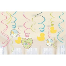 Baby Shower - General Hanging Decorations Tiny Bundle Swirls Pack of 12