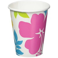 Tropical Fiesta Paper Cups 266ml Hibiscus Pack of 8