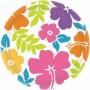 Round Hawaiian Luau Summer Hibiscus Dinner Plates 23cm Pack of 8