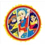 Round Super Hero Girls Expandable Pinatas 41.5cm x 41.5cm x 7.62cm